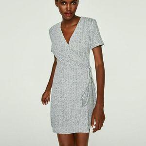 Zara Heather Gray Ribbed Wrap Dress Mini with Tie